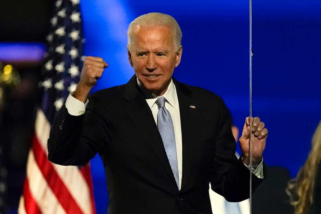 Joe Biden under sitt segertal.