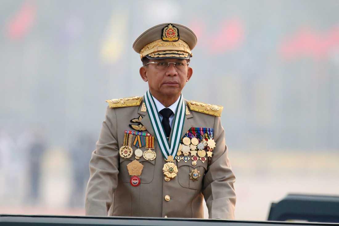 Myanmars juntaledare, general Min Aung Hlaing. Arkivbild.
