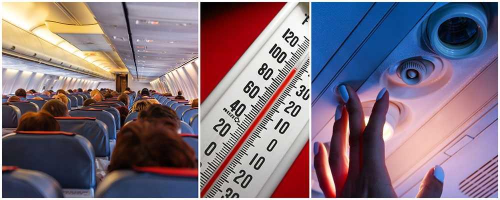 Passagerarna plågades i två timmar när temperaturen i flygkabinen nådde 50 grader.