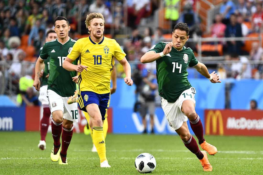 Emil Forsberg under matchen mot Mexiko