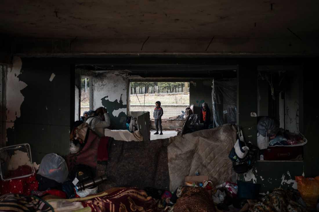 Många av de migranter och flyktingar som stoppats vid gränsen mot Grekland har samlats i Erdine, Turkiet.