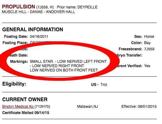 Det amerikanska travförbundet USTA bekräftar för Travronden att Propulsion nervsnittades i april 2015.