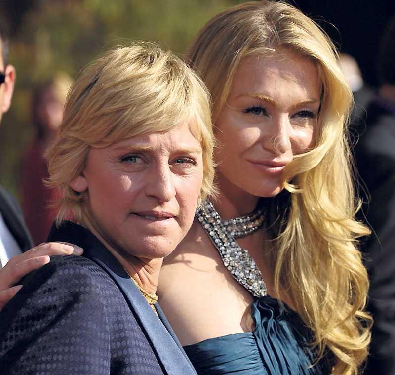 Äkta paret Ellen DeGeneres och Portia de Rossi.