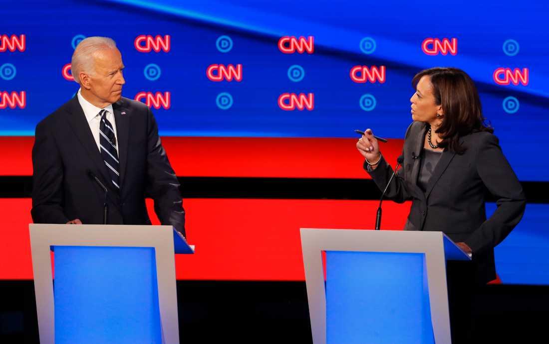 Tidigare vicepresidenten Joe Biden och Kaliforniensenatorn Kamala Harris.