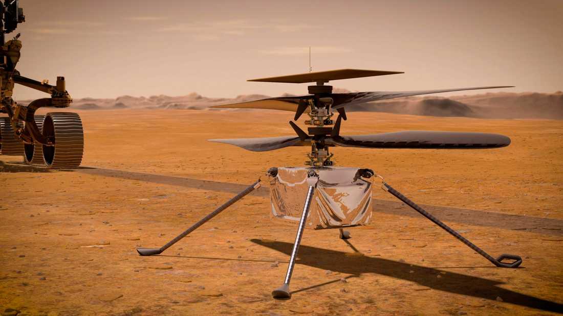 Minihelikoptern Ingenuity, med Marsbilen Perseverance i bakgrunden, illustrerad av Nasa.