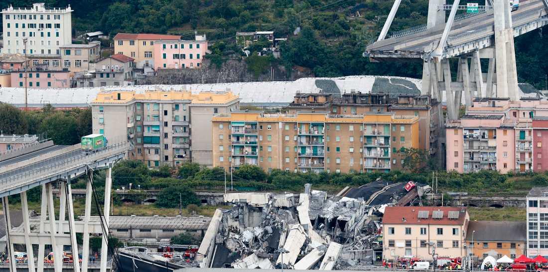 Många människor miste livet när motorvägsbron i Genua rasade.