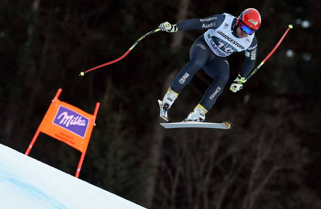 David Poisson under störtloppet i Garmisch-Partenkirchen förra säsongen.