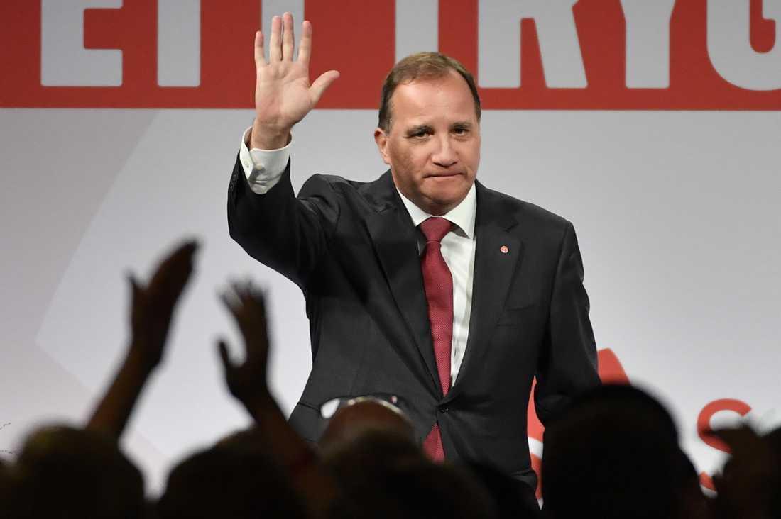 Partiordförande Stefan Löfven under Socialdemokraternas valvaka på Färgfabriken i Stockholm.