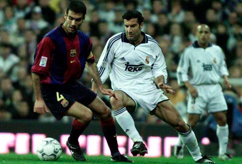 Guardiola och Figo 2001.
