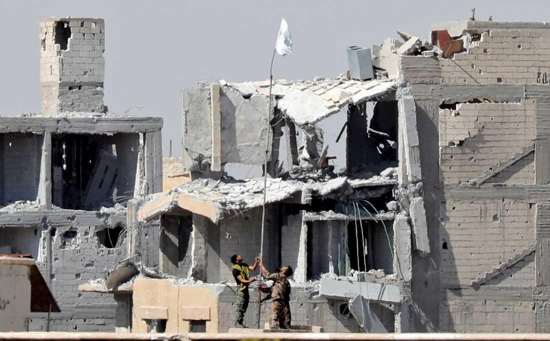 SDF-soldater hissar en vit flagga från ett sjukhus som tidigare hölls av IS.