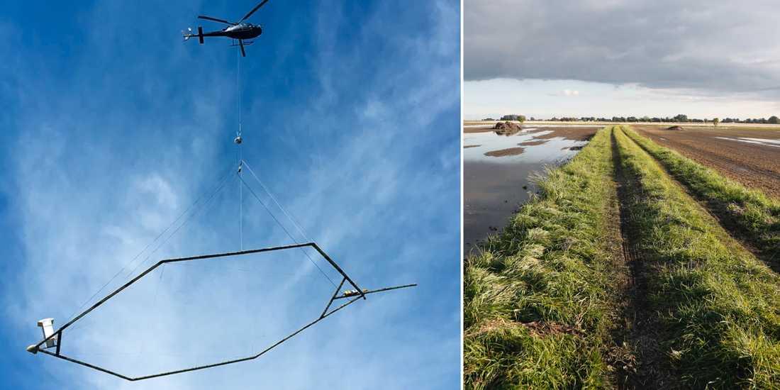 Helikopter med antenn/illustrationsbild.