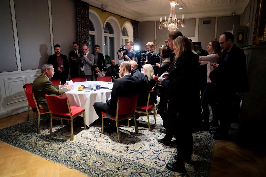 Nigel Farage, från brittiska Ukip är på Grand Hotel i samband med Sverigedemokraternas pressträff med Jimmie Åkesson, Vaclav Klaus och Nigel.