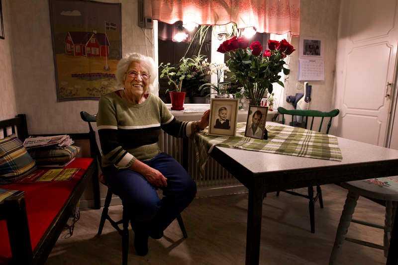 Löfvens fostermamma Iris Melander i huset där S-ledaren växte upp.