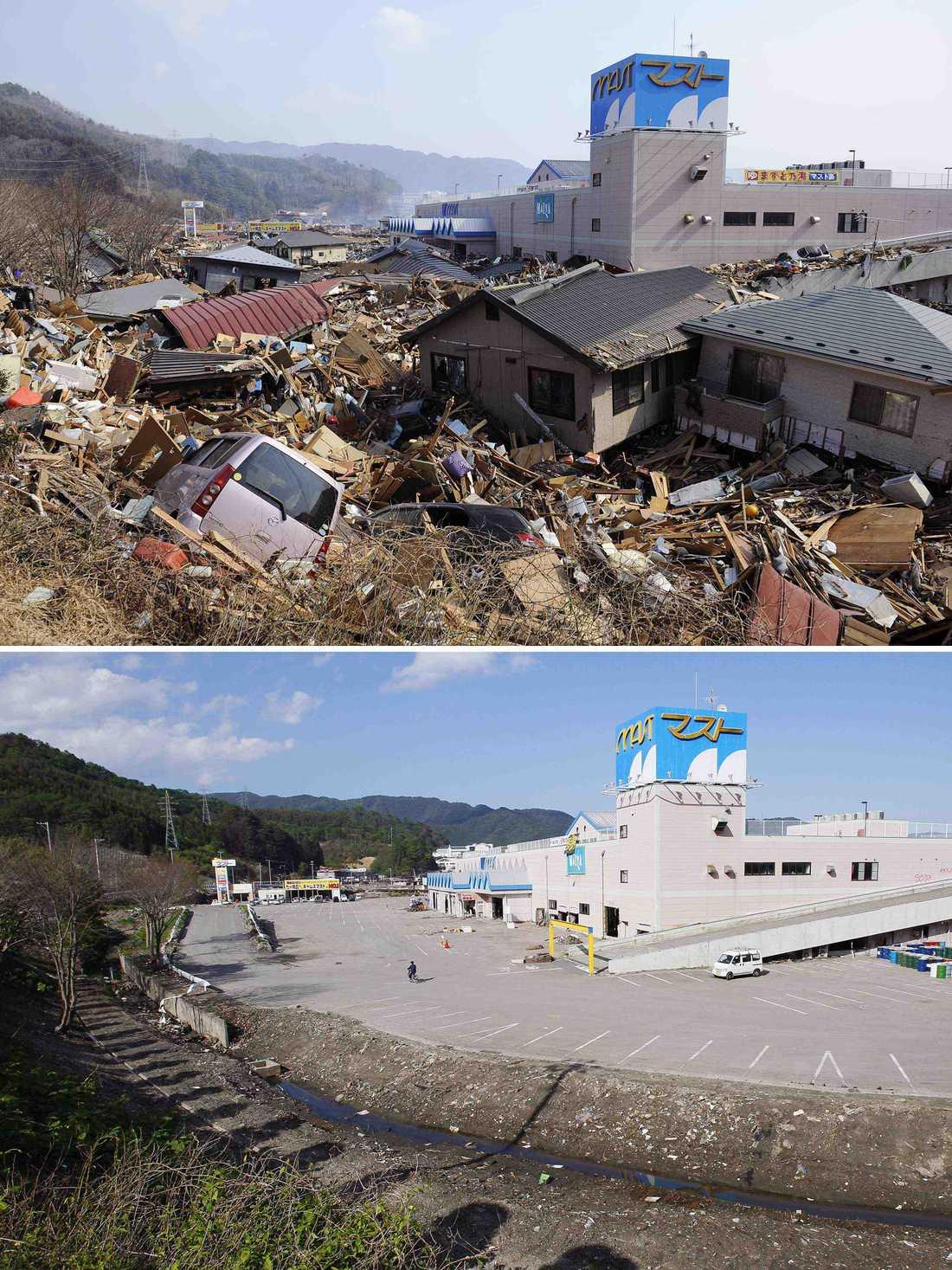 Otsuchi efter katastrofen och i dag.