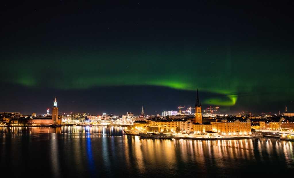 Norrskenet över Stockholm.