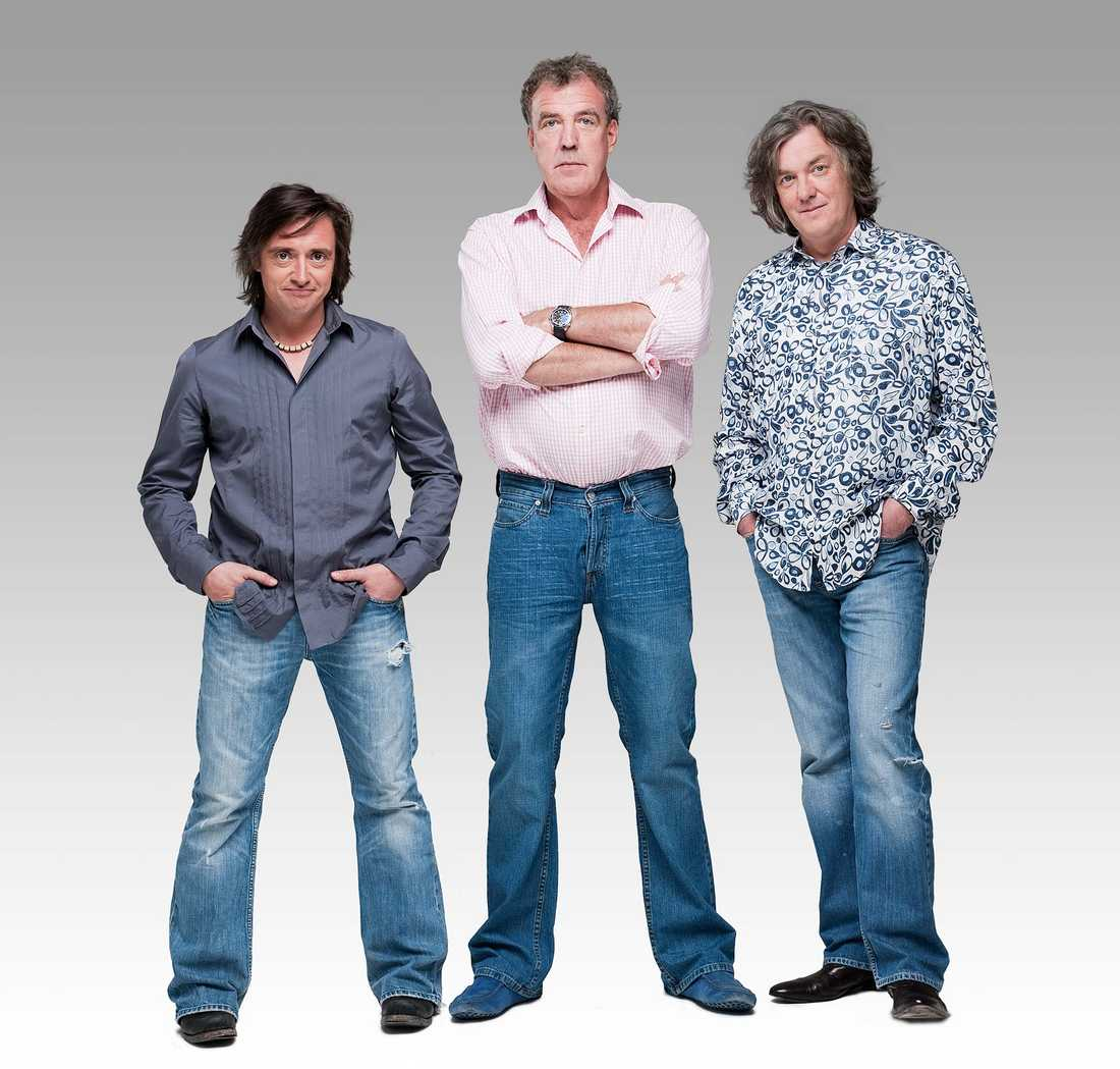 Den tidigare Top Gear-trion Richard Hammond, Jeremy Clarkson och James May.