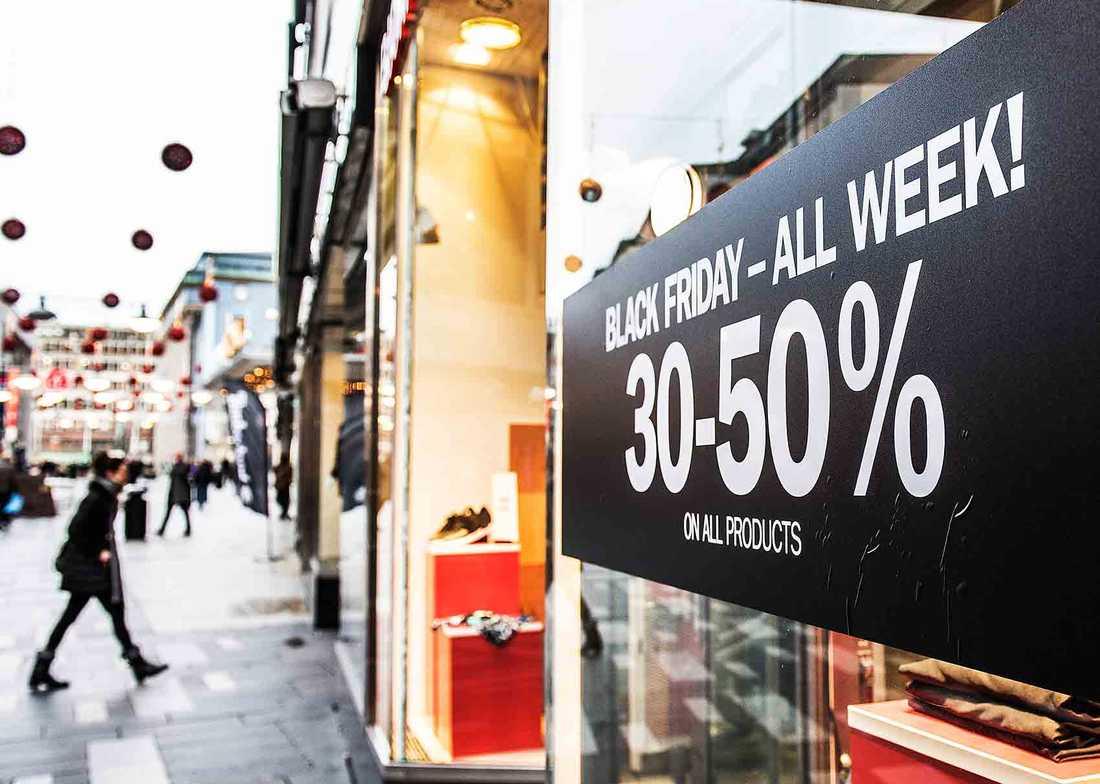 Black Friday-rea i en butik i Stockholm.