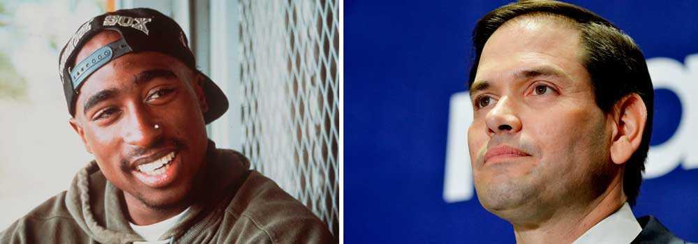 Amerikanske rapparen Tupac Shakur, till vänster, och den amerikanske republikanske politikern Marco Rubio, till höger.