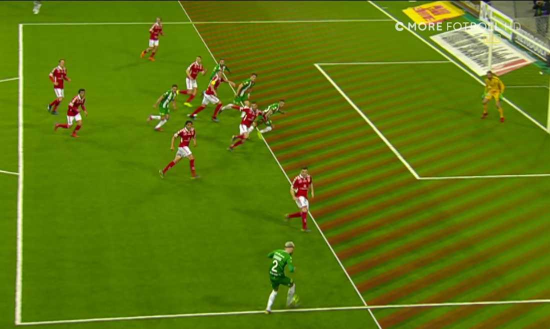 Den omdiskuterade offside-situationen i slutskedet.