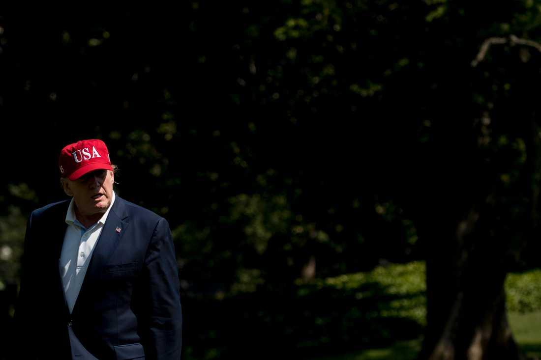 Donald Trump utanför Vita huset under söndagen.