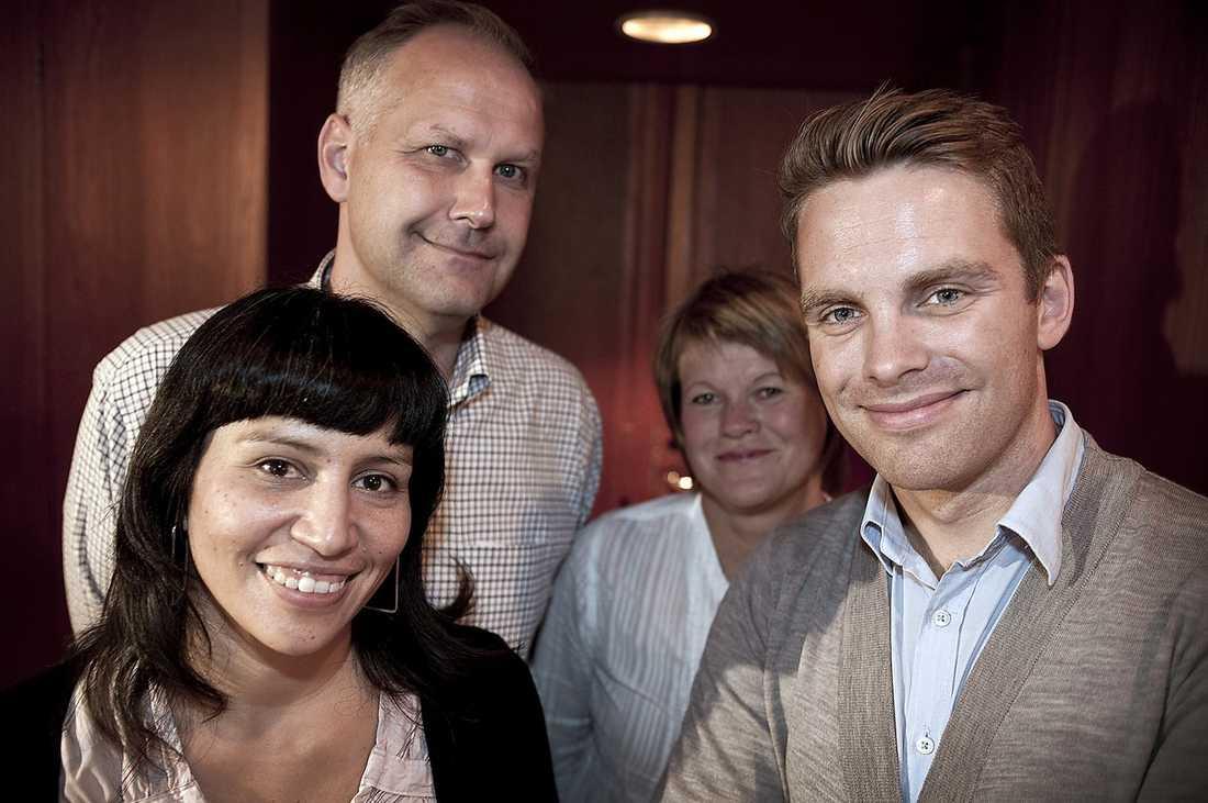 V-ledarkandidater Rossana Dinamarca, Jonas Sjöstedt, Ulla Andersson och Hans Linde.