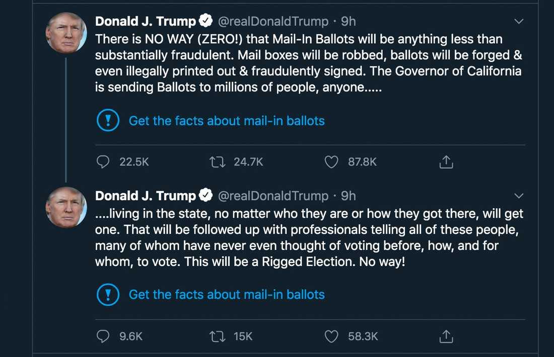 Donald Trumps två flaggade Twitter-inlägg.