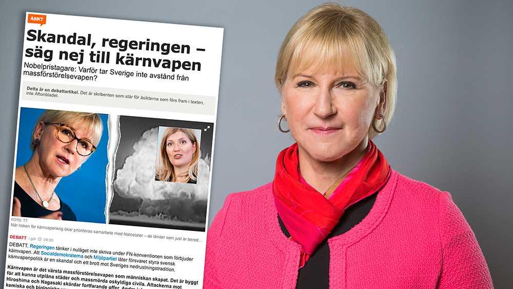 Att jämföra Sveriges regering med Trump och påstå att vi böjer oss för stormakter är inte hederligt. Det skadar den seriösa debatt som finns om kärnvapennedrustning och riskerar att försvaga arbetet för en kärnvapenfri värld, skriver utrikesminister Margot Wallström (S).
