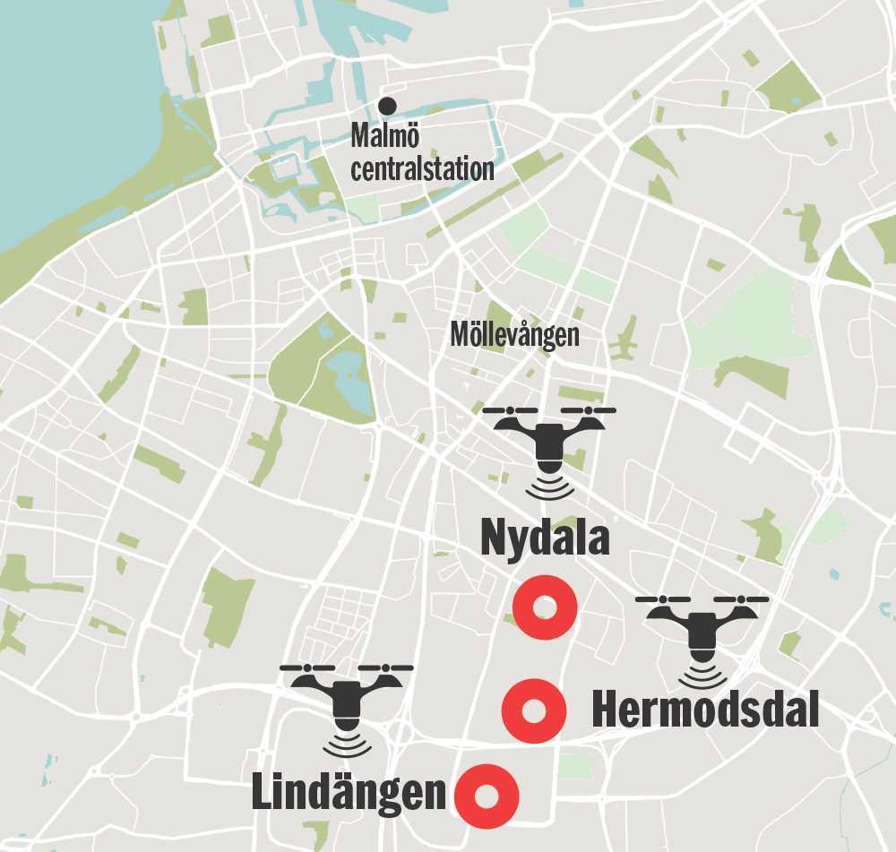 Nydala, Hermodsdal och Lindängen blir första målet för Malmöpolisens övervakning med drönare.