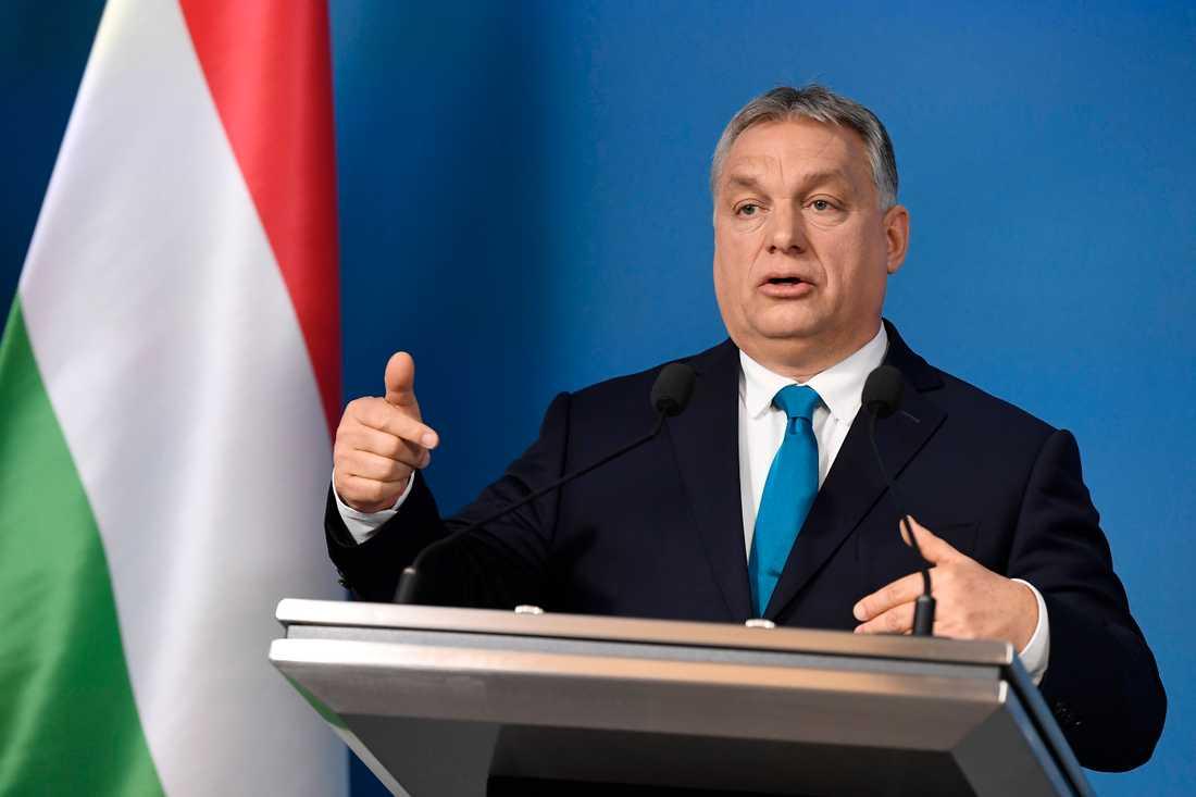 Ungerns premiärminister Viktor Orbán under en presskonferens i Budapest på torsdagen.