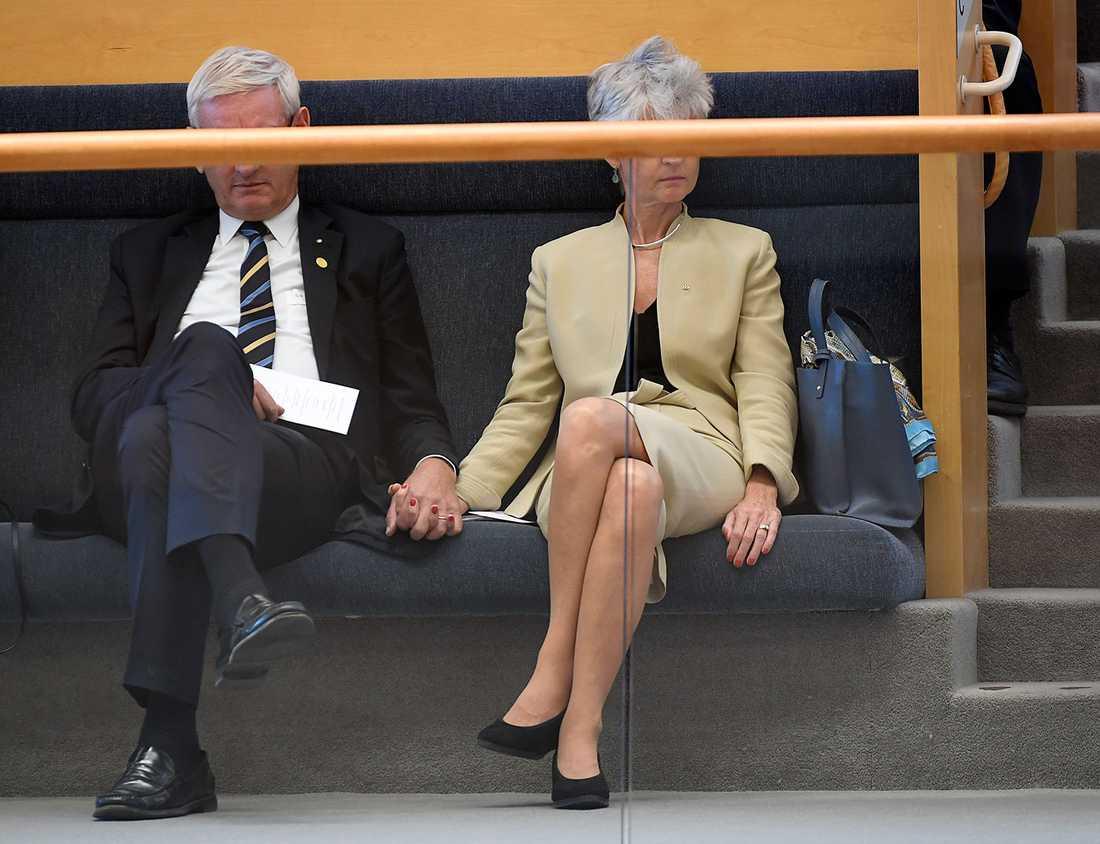 Carl Bildt och  Anna Maria Corazza Bildt på riksmötets öppnande i september.