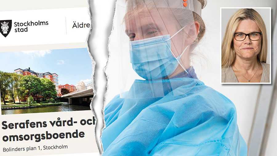 Arbetsmiljöverket står fast vid kravet på munskydd och ansiktsvisir vid patientnära arbete på äldreboendet Serafen – men arbetsgivaren har överklagat, skriver Pia Zätterström. Personen med munskydd på bilden har inte med texten att göra.