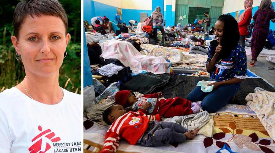 Sverige måste stå upp för utsatta människor och stoppa den inhumana politiken som tvingar kvar dem i Libyen, skriver Karin Ekholm. Bilden är från ett flyktingförvar i Zawya, väster om Tripoli Libyen, i april i år.