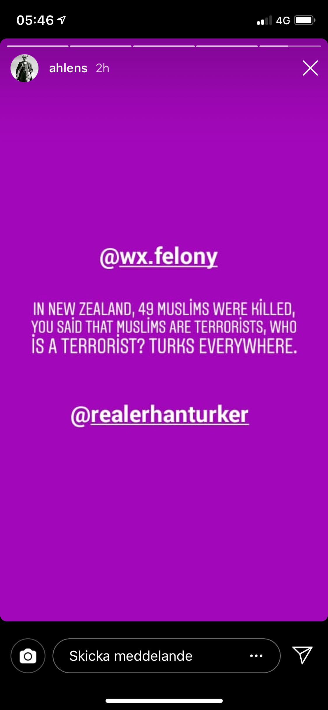 Via Story-funktionen kommenterades terrordådet på Nya Zeeland.