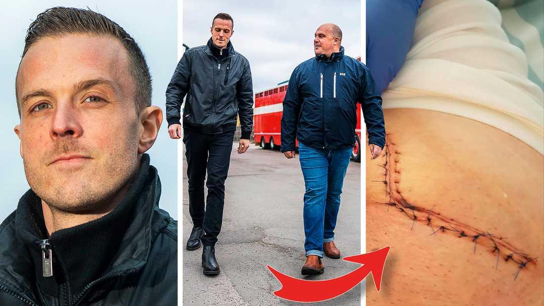 """Stickskadan i ljumsken var nära att kosta Tommy livet. """"Tommy svimmande och jag förstod direkt att det var något allvarligt när jag såg allt blod som pulserade ur honom"""", säger Henrik som räddade hans liv."""