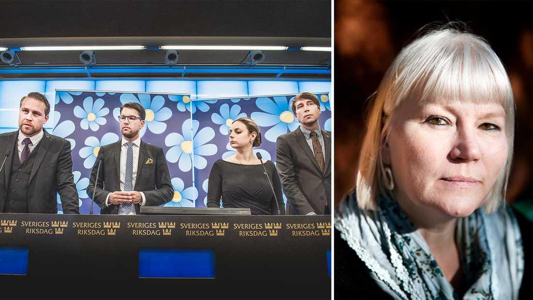 Anna-Lena Lodenius har granskat Sverigedemokraternas politik i en ny rapport.