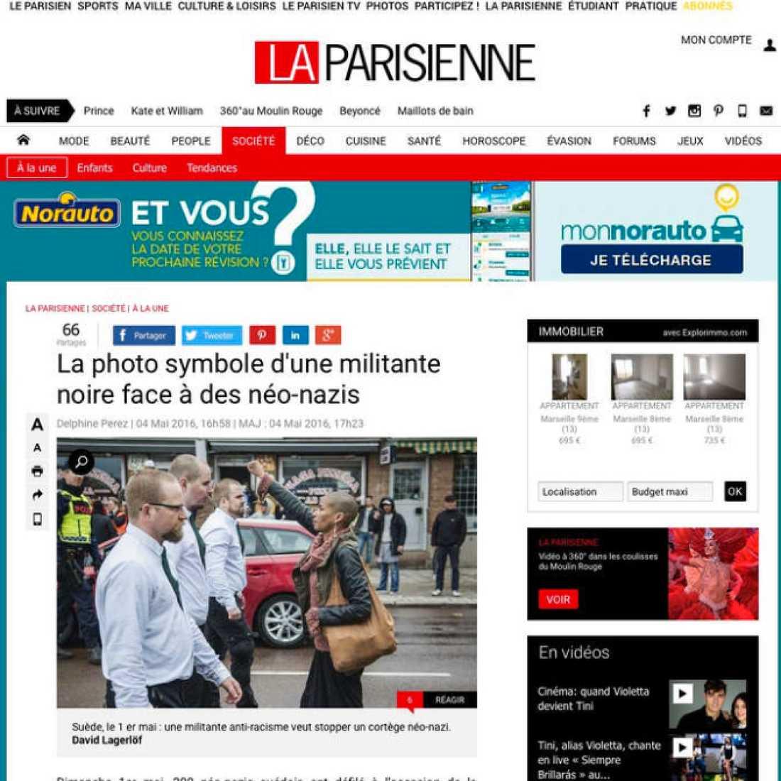 """Franska La Parisienne: """"Svart aktivist gör symbolisk gest inför nynazister."""""""