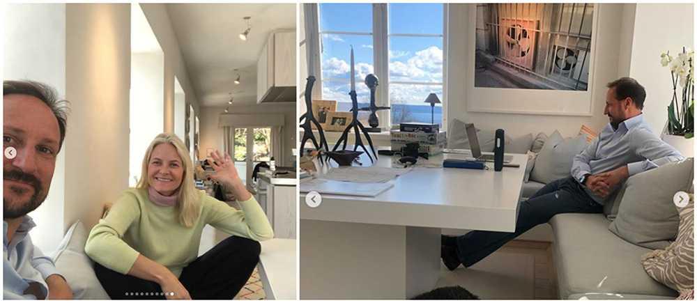Kronprins Haakon och Mette-Marit jobbar hemifrån Skaugaum.