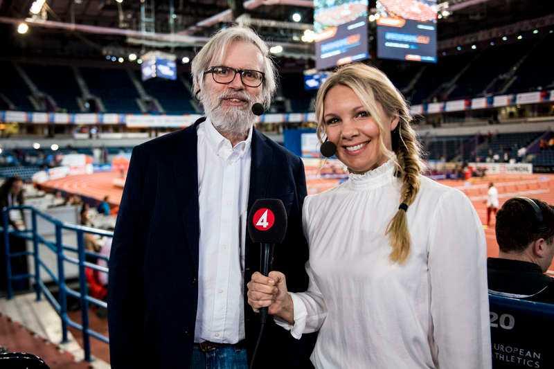 TV4:as Lennart Julin och Anna Brolin under inomhus-EM i friidrott den 3 mars 2017 i Belgrad.