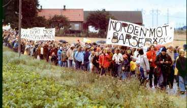 Demonstration mot kärnkraft i Barsebäck i oktobet 1977.