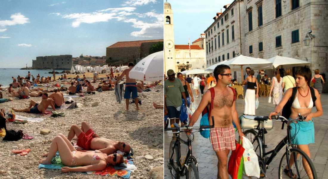 Till vänster: Stranden nära Dubrovniks stadsmur. Till höger: Dubrovniks huvudgata.