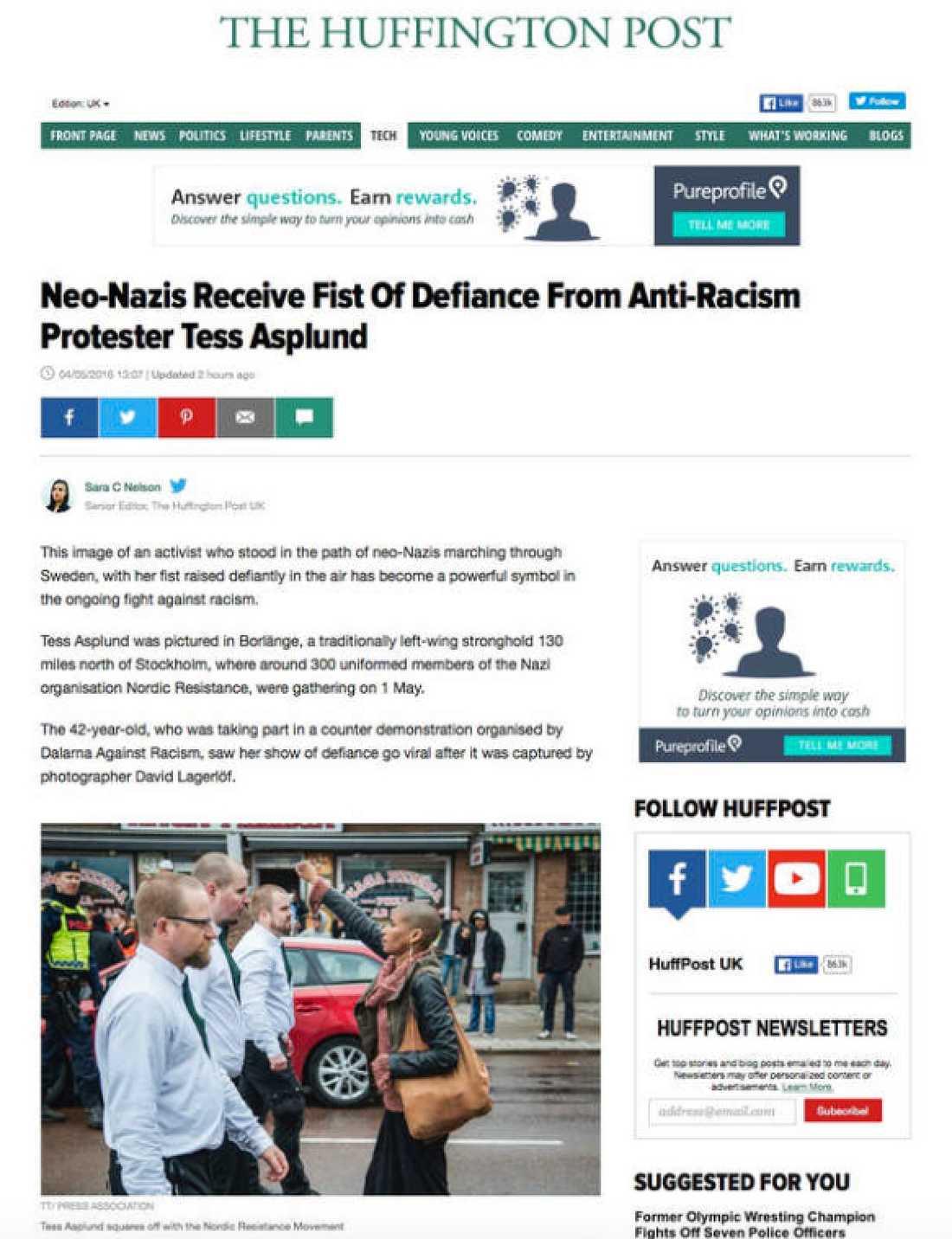"""Amerikanska Huffington Post: """"Nynazister får trotsig näve från antirasistiska Tess Asplund."""""""