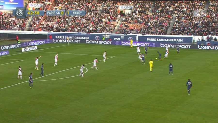 När spelet kom igång igen valde PSG sätta igång ett anfall och inte passa tillbaka bollen till Nancy.