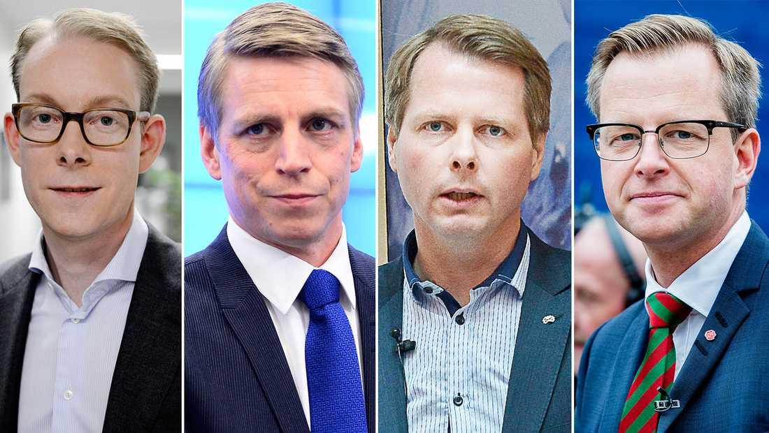 Ett av våra löften är att säga ifrån när andra män agerar sexistiskt eller på andra sätt förminskar kvinnor i politiken, skriver politiker från flera riksdagspartier i ett gemensamt upprop. På bilden Tobias Billström (M), Per Bolund (MP), Christer Nylander (L) och Mikael Damberg (S).