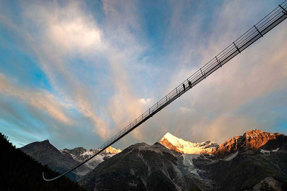 Förträfflig utsikt med Matterhorn och Weisshorn.