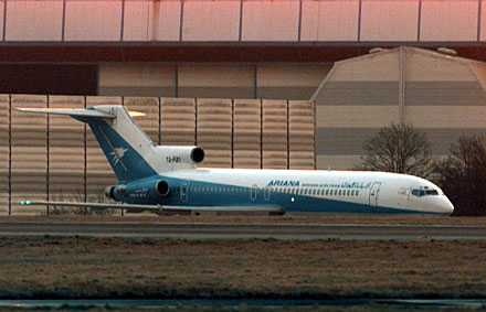 Det övergivna flygplanet är av den här typen. På bilden ett kapat inrikesplan i Afghanistan. Bilden togs i februari 2000.