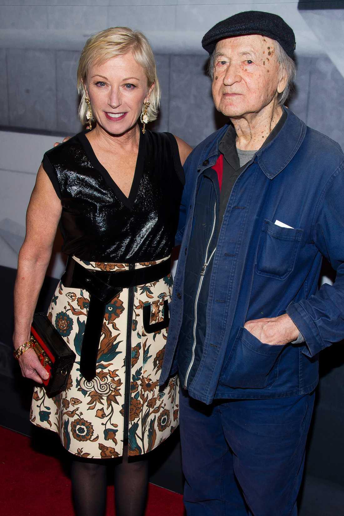 Jonas Mekas och amerikanska fotokonstnären Cindy Sherman 2014.