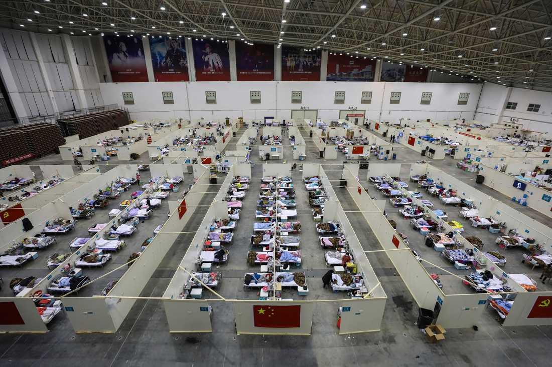 Temporärt sjukhus i Wuhan.