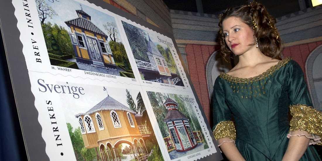 Ebba Brahes lusthus i Bockhammar avbildades 2002 på en serie frimärken. På bilden Tove Olsson utklädd till Ebba Brahe. Arkivbild.