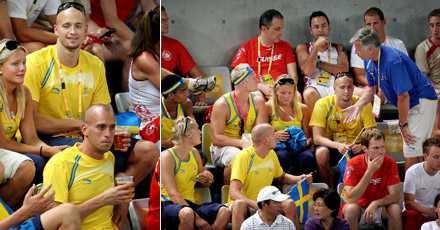 Efter att ha gjort sitt i OS valde fem manliga simmare i går att dricka öl på läktaren under dubbelfinalen i tennis.Här ingriper SOK:s sportchef Glenn Östh och ber simstjärnorna att avlägsna sig.