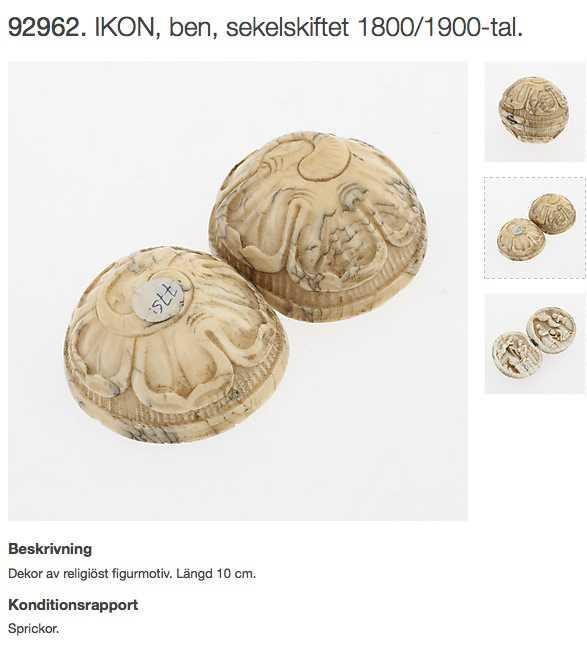 """Göteborgs Auktionsverk: Ikon Den är högst sannolikt gjord av elfenben, under 1800-talet. Men för """"enkelhetens skull"""" katalogiserad som ben."""